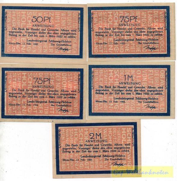 15.2.22, 50, 2x75 Pf, 1, 2 Mk, Druck schwarz - (Sie sehen ein Musterbild, nicht die angebotene Banknote)