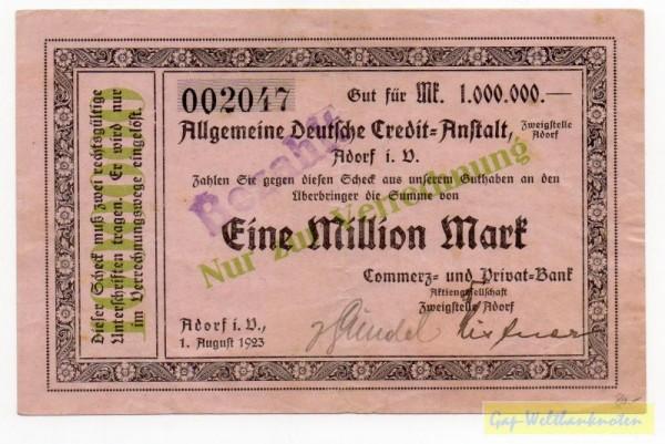 1.8.23, KN 5,5 mm - (Sie sehen ein Musterbild, nicht die angebotene Banknote)