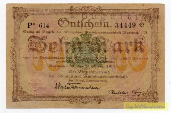 23.10.18, Wz Sechseckflechtwerk, KN 8* S, entw. - (Sie sehen ein Musterbild, nicht die angebotene Banknote)