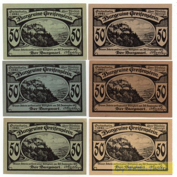 1921, 6x50 Pf - (Sie sehen ein Musterbild, nicht die angebotene Banknote)