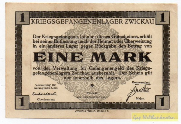 1.9.17, Wz. Stern-Sechseckmuster - (Sie sehen ein Musterbild, nicht die angebotene Banknote)