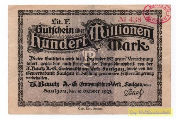 10.10.23, Lit F - (Sie sehen ein Musterbild, nicht die angebotene Banknote)