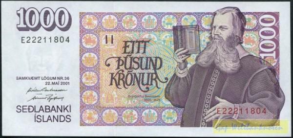 2001, weißer Rand, Us. Guðnason/Ingólfson - (Sie sehen ein Musterbild, nicht die angebotene Banknote)