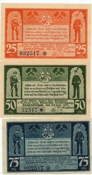 25.7.21, 25, 50, 75 Pf mit KN Erste Bergbauserie - (Sie sehen ein Musterbild, nicht die angebotene Banknote)