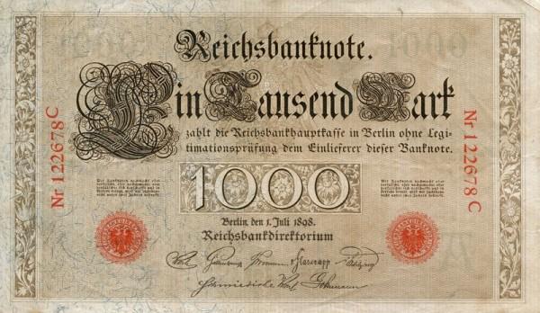 1.7.1898 - (Sie sehen ein Musterbild, nicht die angebotene Banknote)