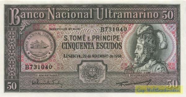 20.11.58, linke Us. Coutinho - (Sie sehen ein Musterbild, nicht die angebotene Banknote)