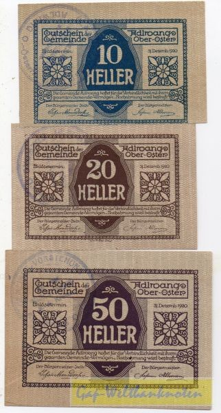 3 W., Vs. Udr 1 Rs Udr 1, GSt 39mm - (Sie sehen ein Musterbild, nicht die angebotene Banknote)
