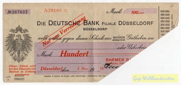 4.11.18, Barmer Bankverein a. Deutsche Bank, entw. - (Sie sehen ein Musterbild, nicht die angebotene Banknote)