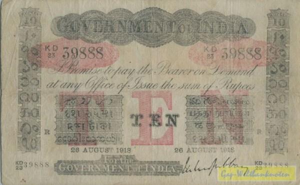 Us. Gubbay, 26.8.1918 - (Sie sehen ein Musterbild, nicht die angebotene Banknote)
