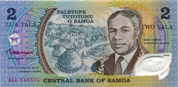 AAL, GA (Tanumafili II) - (Sie sehen ein Musterbild, nicht die angebotene Banknote)