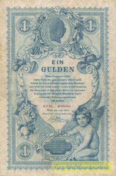 1.7.1888 - (Sie sehen ein Musterbild, nicht die angebotene Banknote)