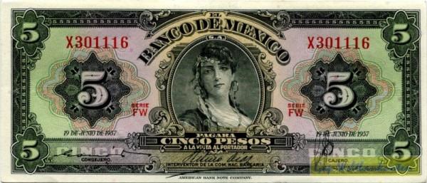 19.6.57, FW, Siegel lila - (Sie sehen ein Musterbild, nicht die angebotene Banknote)