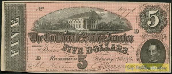 17.2.1864 - (Sie sehen ein Musterbild, nicht die angebotene Banknote)