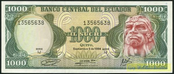 5.9.84, IJ - (Sie sehen ein Musterbild, nicht die angebotene Banknote)
