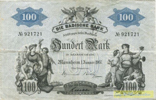 1.1.1907, mit Dfa. - (Sie sehen ein Musterbild, nicht die angebotene Banknote)