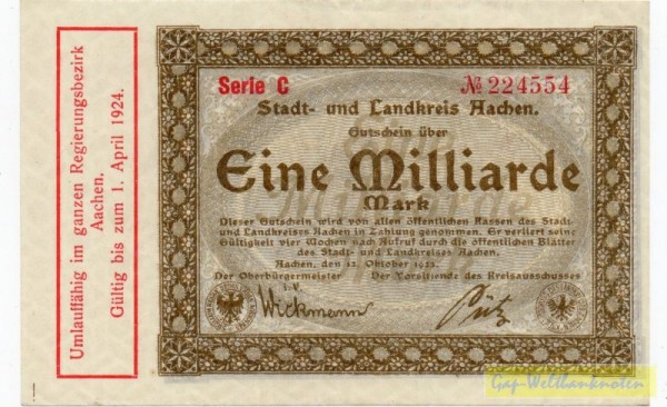 12.10.23, Serie C, № KN - (Sie sehen ein Musterbild, nicht die angebotene Banknote)