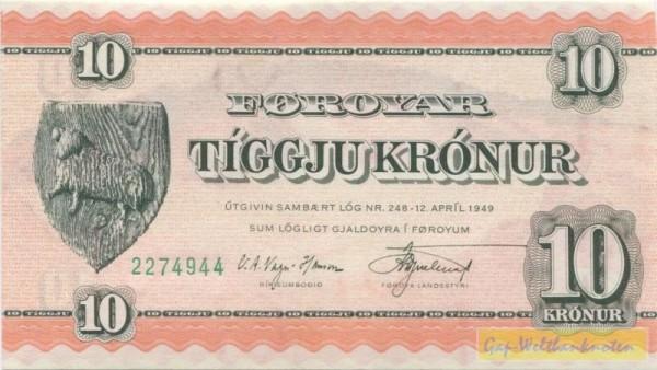 """1949, Wz. """"10"""" 13 mm - (Sie sehen ein Musterbild, nicht die angebotene Banknote)"""