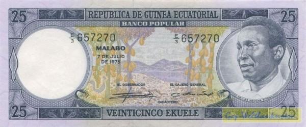 """7.7.75, """"Macias..."""" - (Sie sehen ein Musterbild, nicht die angebotene Banknote)"""