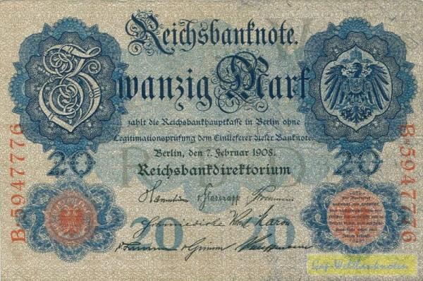 7.2.1908 - (Sie sehen ein Musterbild, nicht die angebotene Banknote)