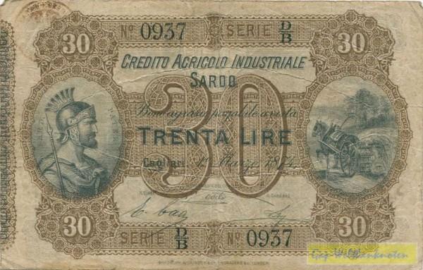 1.3.1874 - (Sie sehen ein Musterbild, nicht die angebotene Banknote)