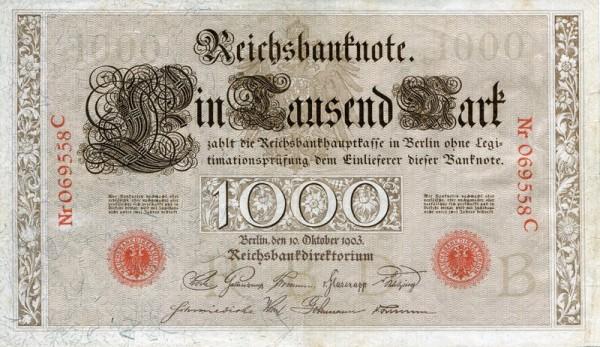 10.10.1903 - (Sie sehen ein Musterbild, nicht die angebotene Banknote)