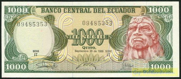 29.9.86, IT - (Sie sehen ein Musterbild, nicht die angebotene Banknote)