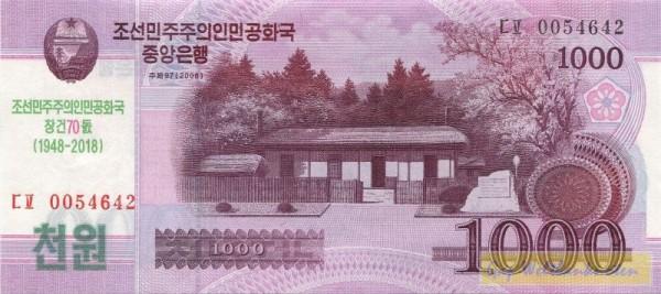 GA: 70 J. Nordkorea, grüner Üdr. auf 1000 Won - (Sie sehen ein Musterbild, nicht die angebotene Banknote)