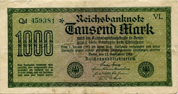 Pap. weiß, Wz. Gitter mit 8, KN blaugrün - (Sie sehen ein Musterbild, nicht die angebotene Banknote)
