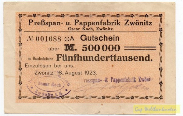 18.8.23, St zweizeilig, No KN *(8str.) A - (Sie sehen ein Musterbild, nicht die angebotene Banknote)