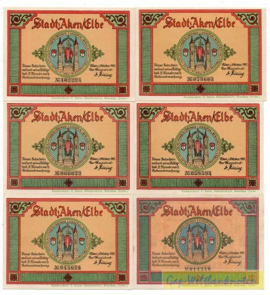 25, 4x50, 75 Pf, Dfa. gelbgrün - (Sie sehen ein Musterbild, nicht die angebotene Banknote)