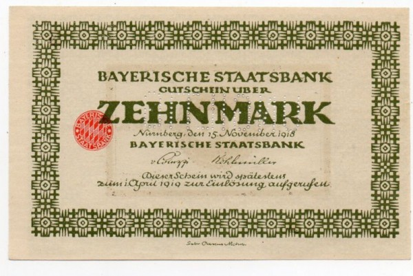 """15.11.18, helle Rauten im Siegel schraffiert, Reihe A, B ohne KN, Perf.""""ungültig"""" - (Sie sehen ein Musterbild, nicht die angebotene Banknote)"""