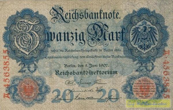 8.6.1907 - (Sie sehen ein Musterbild, nicht die angebotene Banknote)