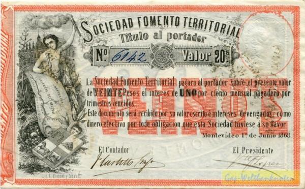 1.6.1868 - (Sie sehen ein Musterbild, nicht die angebotene Banknote)