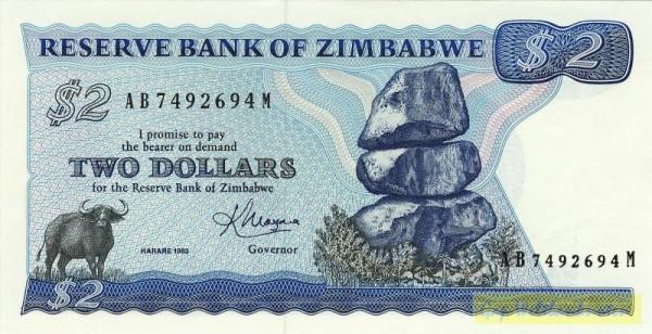 Harare, 1983 - (Sie sehen ein Musterbild, nicht die angebotene Banknote)
