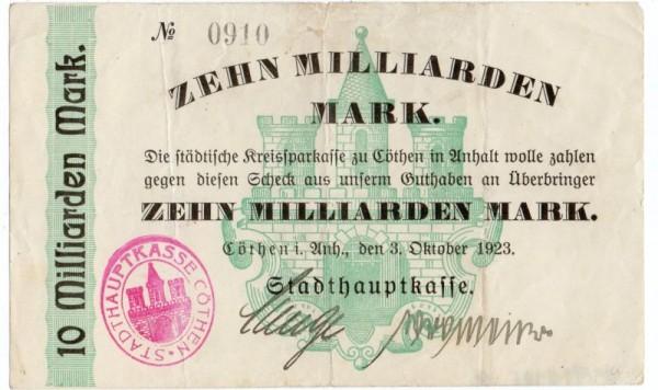 3.10.23, ohne Wz., mit FSt - (Sie sehen ein Musterbild, nicht die angebotene Banknote)