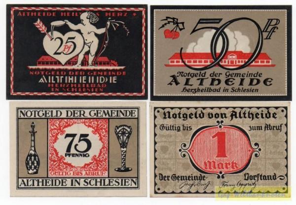 25, 50, 75 Pf, 1 Mk, Druck schwarz u. rot - (Sie sehen ein Musterbild, nicht die angebotene Banknote)