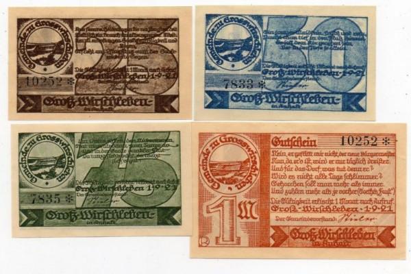 25, 50, 50 Pf, 1 Mk, KN 6*s, * 3 mm - (Sie sehen ein Musterbild, nicht die angebotene Banknote)