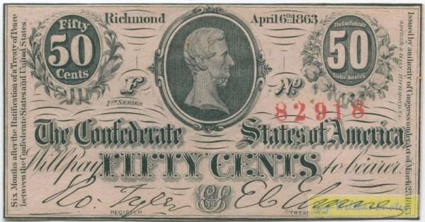 6.4.1863 - (Sie sehen ein Musterbild, nicht die angebotene Banknote)