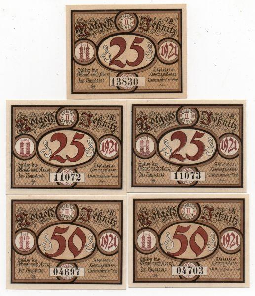 1921, 3x25, 2x50 Pf, Blücherserie - (Sie sehen ein Musterbild, nicht die angebotene Banknote)