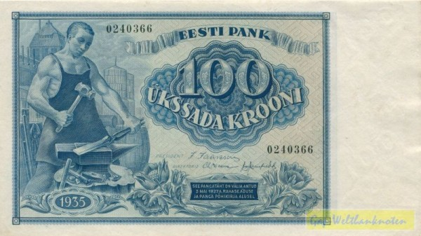 1935 - (Sie sehen ein Musterbild, nicht die angebotene Banknote)