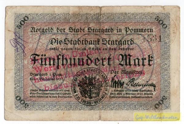 oD, Üdr. a. 500 Mk v. 1.12.22 - (Sie sehen ein Musterbild, nicht die angebotene Banknote)