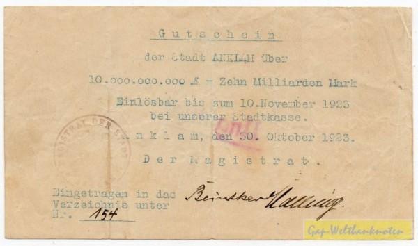 """30.10.23-10.11.23, St. 29 mm, """"ANKLAM"""" 16 mm, entwertet - (Sie sehen ein Musterbild, nicht die angebotene Banknote)"""