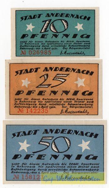 1.4.20, 10, 25, 50 Pf, mit KN - (Sie sehen ein Musterbild, nicht die angebotene Banknote)