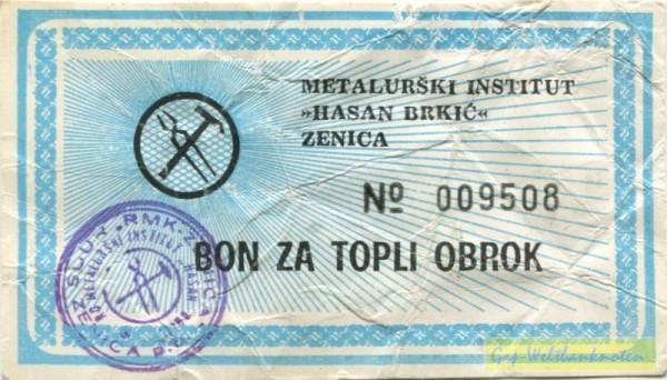 blau, Bon za topli obrok - (Sie sehen ein Musterbild, nicht die angebotene Banknote)