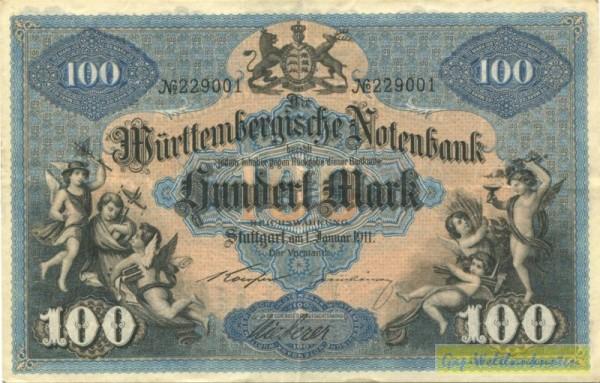 1.1.1911, Koerper-Steinhäuser - (Sie sehen ein Musterbild, nicht die angebotene Banknote)