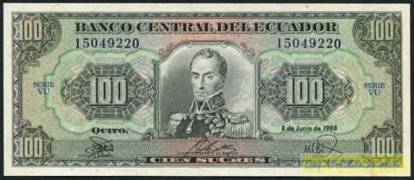 8.6.88, KN schwarz, weit, VU - (Sie sehen ein Musterbild, nicht die angebotene Banknote)