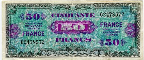 """1944, """"FRANCE"""", o.Serie - (Sie sehen ein Musterbild, nicht die angebotene Banknote)"""