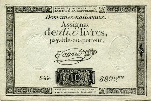 24.10.1792, Wz. RP-FR - (Sie sehen ein Musterbild, nicht die angebotene Banknote)