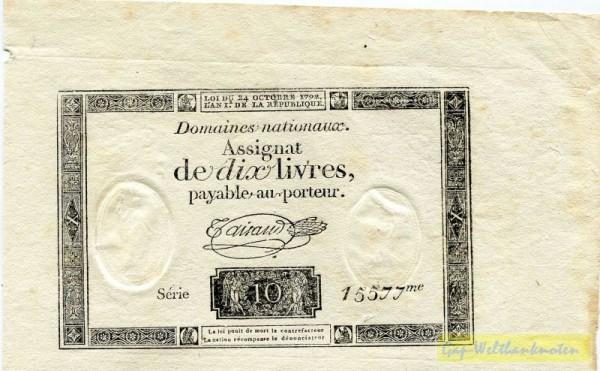 24.10.1792, breiter Rand - (Sie sehen ein Musterbild, nicht die angebotene Banknote)
