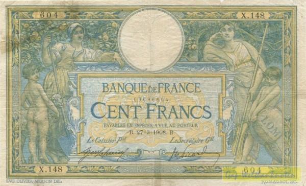 Us. d´Anfreville/Picard, beschnitten - (Sie sehen ein Musterbild, nicht die angebotene Banknote)